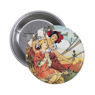Vintage Rose Goddess Pinback Buttons