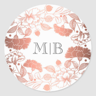 Vintage Rose Gold Floral Wreath Elegant Wedding Classic Round Sticker