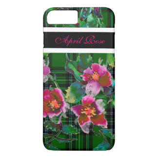 Vintage rose - green plaid  monogrammed iPhone 8 plus/7 plus case