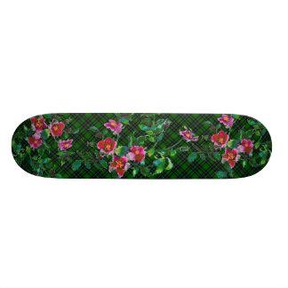 Vintage Rose - green plaid Skate Board Decks