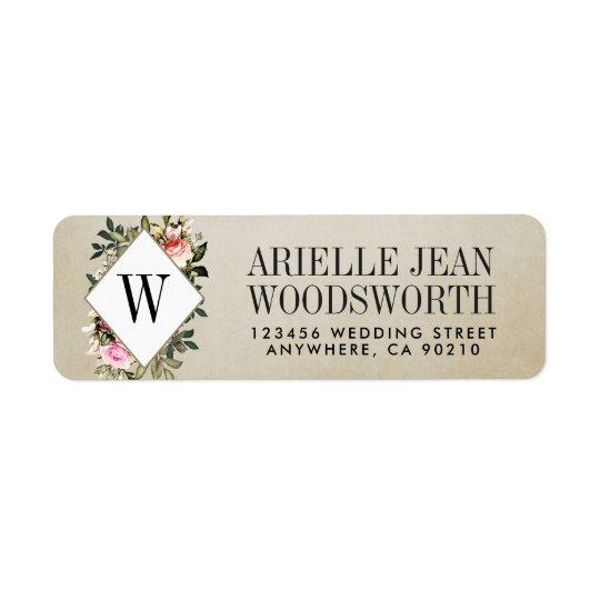 Vintage Rose Greenery Wedding Address Labels