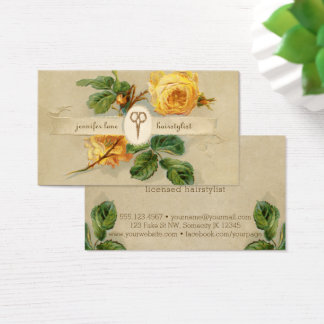 vintage rose hairstylist hair stylist floral business card