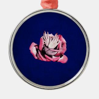 Vintage Rose Hands Nails Grunge Silver-Colored Round Decoration