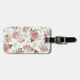 vintage rose luggage tag