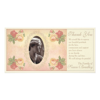 Vintage Rose Oval Photo Frame Sympathy Thank You Card
