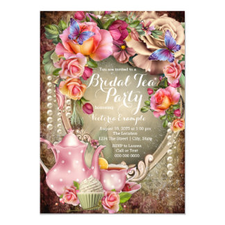 Vintage Rose Pearl Bridal Tea Party Card