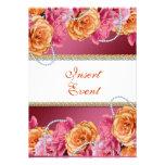 Vintage rose pearl wedding engagement invitation