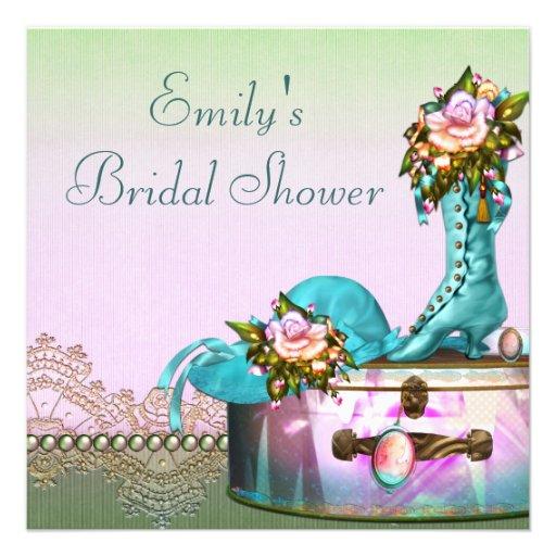 Vintage Rose Pearls Pink Bridal Shower Custom Invites