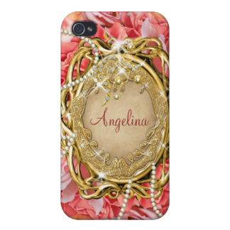 Vintage rose pearls sparkle name iPhone 4 case