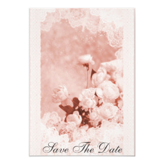 Vintage Rose Peony Lace Save The Date Announcement