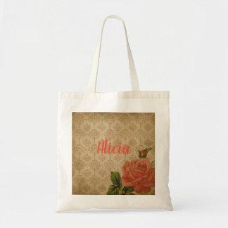 Vintage Rose Personalized Tote Bag