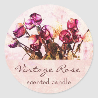 Vintage rose petals - scented candle or soap label round sticker