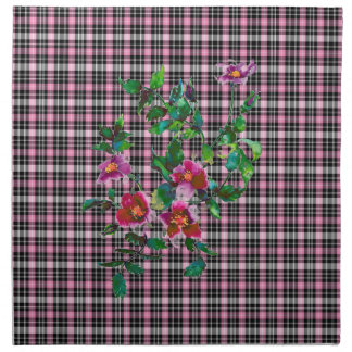 Vintage Rose pink and black plaid Printed Napkin