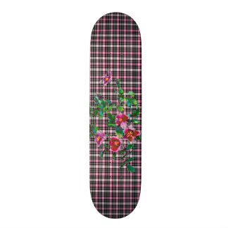 Vintage rose pink and black plaid skate board deck