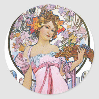 Vintage Rose Pink Goddess Classic Round Sticker