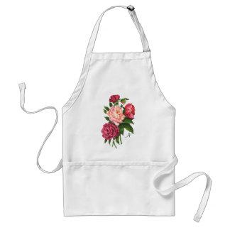 Vintage Rose Pink Peony Flowers Custom Monogram Standard Apron