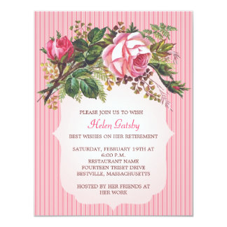 Vintage Rose Retirement Formal 11 Cm X 14 Cm Invitation Card