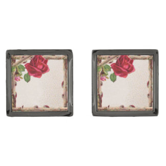 Vintage Rose Rustic Country Antique Flower Gunmetal Finish Cufflinks