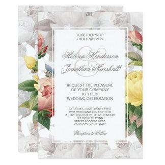 Vintage Rose Spring Wedding Floral Card
