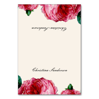 Vintage Rose Table Name Cards Table Cards