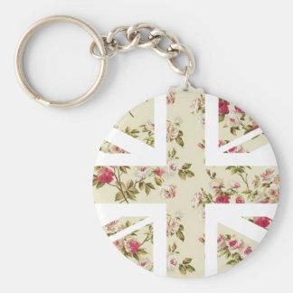 Vintage Rose Union Jack British(UK) Flag Key Chain
