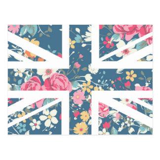 Vintage Rose Union Jack British UK Flag Post Card