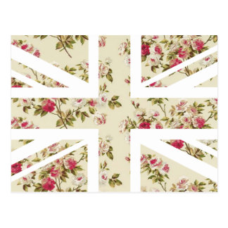Vintage Rose Union Jack British UK Flag Post Cards