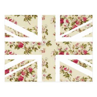 Vintage Rose Union Jack British(UK) Flag Postcard