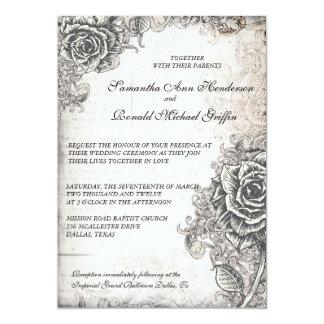 """Vintage Rose Wedding Invitation 5"""" X 7"""" Invitation Card"""