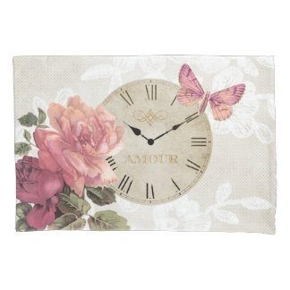 Vintage Rose Wedding Love Butterfly Clock Pillow Pillowcase