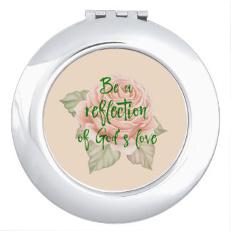 Vintage Rose with Faith Quote Compact Mirror