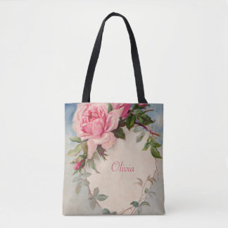 Vintage Rose with Your Name Tote Bag