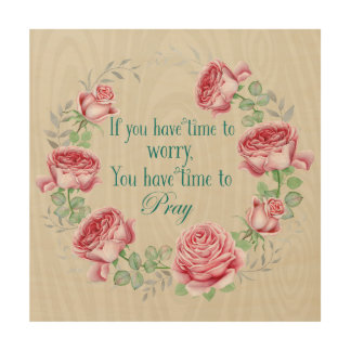 Vintage Rose Wreath: Inspirational Prayer Quote Wood Wall Art