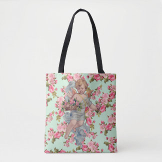 Vintage Roses and Cherub Valentine's Tote Bag