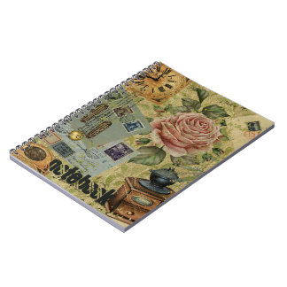 Vintage Roses And Clocks Pattern Spiral Notebook