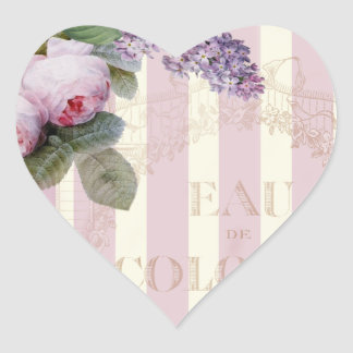 Vintage Roses and Lilac Heart Sticker