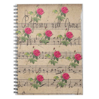 Vintage Roses and Music Sheet Spiral Notebook