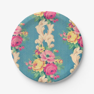 Vintage roses and scrolls fabric paper plates 7 inch paper plate