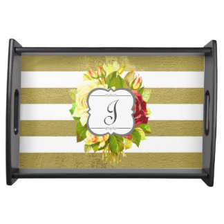 Vintage Roses and Stripes Monogram Initial Floral Serving Tray
