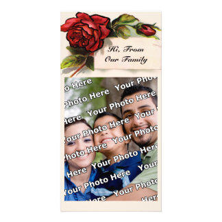 Vintage Roses and Your Name Photo Card