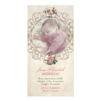 Vintage Roses Baby Announcement photocard Customized Photo Card