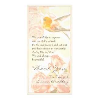 Vintage Roses Bird Sympathy Thank You P Card