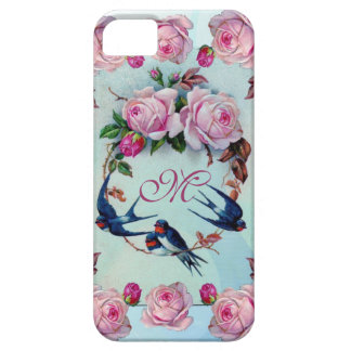 Vintage Roses, birds and Monogram iPhone 5 Case