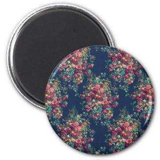 Vintage Roses Classic Blue Color Damask Floral 6 Cm Round Magnet
