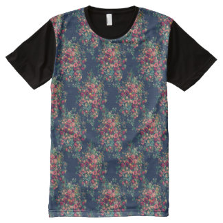 Vintage Roses Classic Blue Color Damask Floral All-Over Print T-Shirt