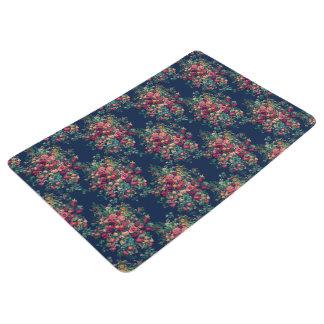 Vintage Roses Classic Blue Color Damask Floral Floor Mat