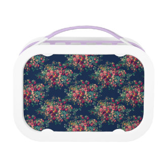Vintage Roses Classic Blue Color Damask Floral Lunch Box