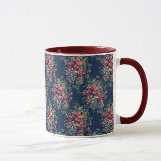 Vintage Roses Classic Blue Color Damask Floral Mug