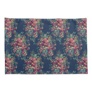 Vintage Roses Classic Blue Color Damask Floral Pillowcase