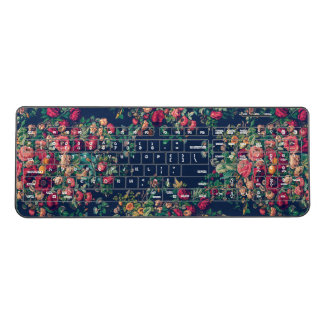 Vintage Roses Classic Blue Color Damask Floral Wireless Keyboard